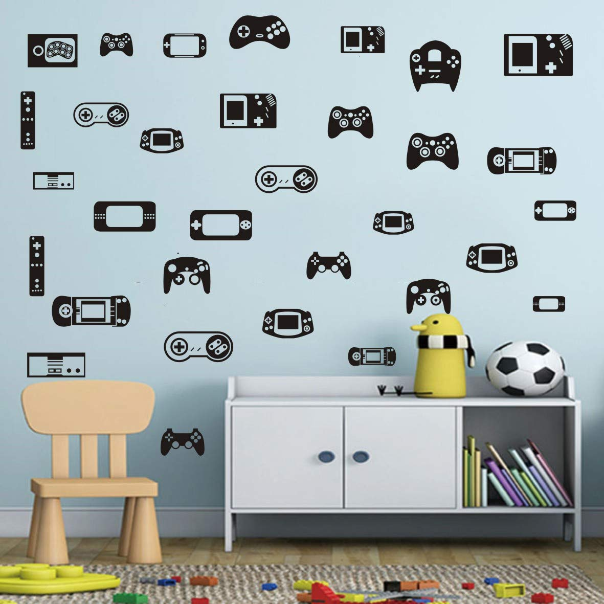 Children Room Art Games Wall Sticker 50pcs/Set Gamepad Game Console Vinyl Decor Stickers for Boys Bedroom Gaming Wall Decal Bedroom Removablr Murals AM108 (Black)