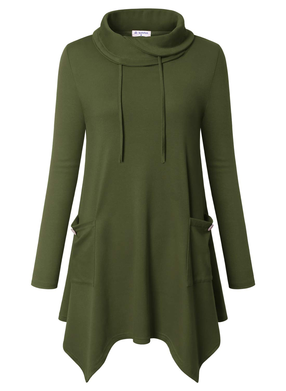 18e1c7f6615b4 Bulotus Women s Long Sleeve Cowl Neck Asymmetrical Hem Tunic Tops with  Pockets