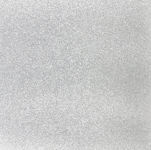 Silver Glitter Cardstock, Paper Supply Station 15 Sheets 12x12 Sticker Free Backing Brand - making it easy to use 100% of cardstock