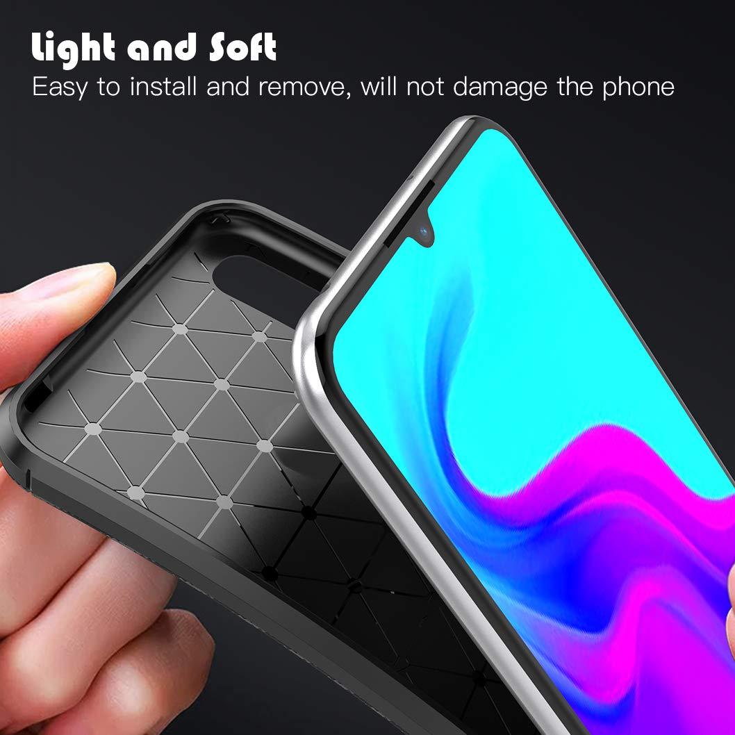 Funda Huawei Y6 2019 Carcasa de Armadura Resistente Funda de Silicona Suave y Delgada Wanxideng Negro Textura de Fibra de Carbono Protectore de Pantalla in Cristal Templado,