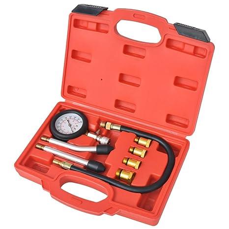 vidaXL Kit Compresión Motor Gasolina 8 Pzas Probador Medidor Presión Cilindro