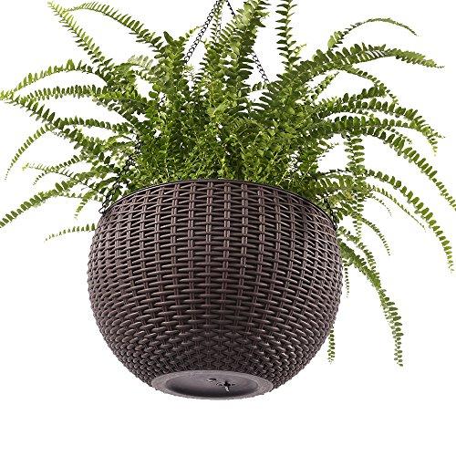 Growers Hanging Basket, Indoor Outdoor Hanging Planter Basket , 10.4 in.Round Resin Garden Plant Hanging Planters Decor Pot (Brown)