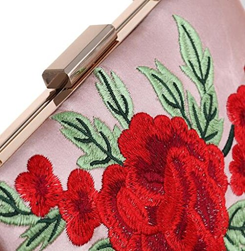 Clutch Bag Rose Simple Wedding Pattern Embroidered for Bag Evening Prom Evening Handbag Bag White Women's aS0S8