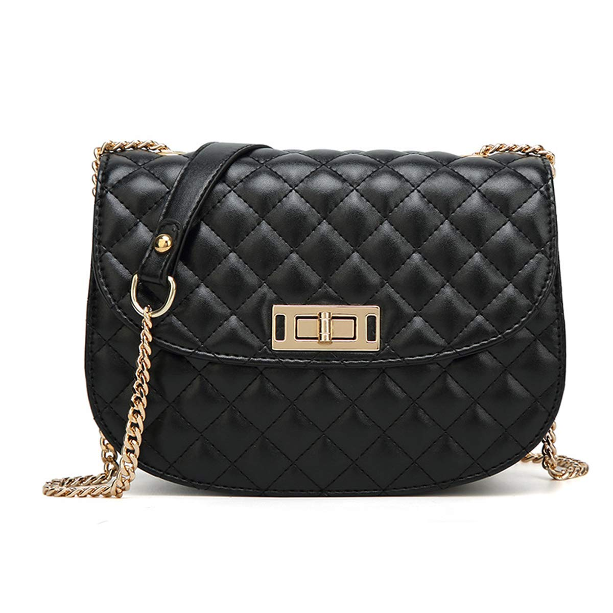 Quilted Handbags Chain Crossbody Purse Small Shoulder Bags with Turn-lock  for Women Girls (Black)  Handbags  Amazon.com 81cceb4f18