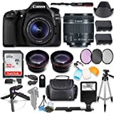 Canon EOS 80D DSLR Camera with Canon 18-55mm STM Lens Kit + 0.43x Wide Angle Lens + 2x Telephoto Lens + 32GB SD Memory Card + HD Filter Kit + Flash Diffusers + Full Premium Accessory Bundle