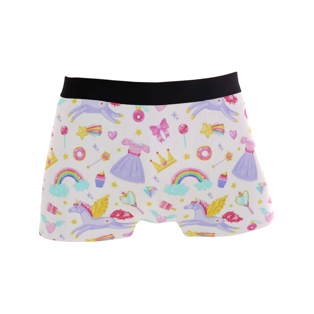 Mens Cute Unicorn Pattern Underwear Boxer Briefs Ultra Soft Comfortable