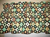 South West Navajo Teal Brown indian fabric window curtain topper Valance