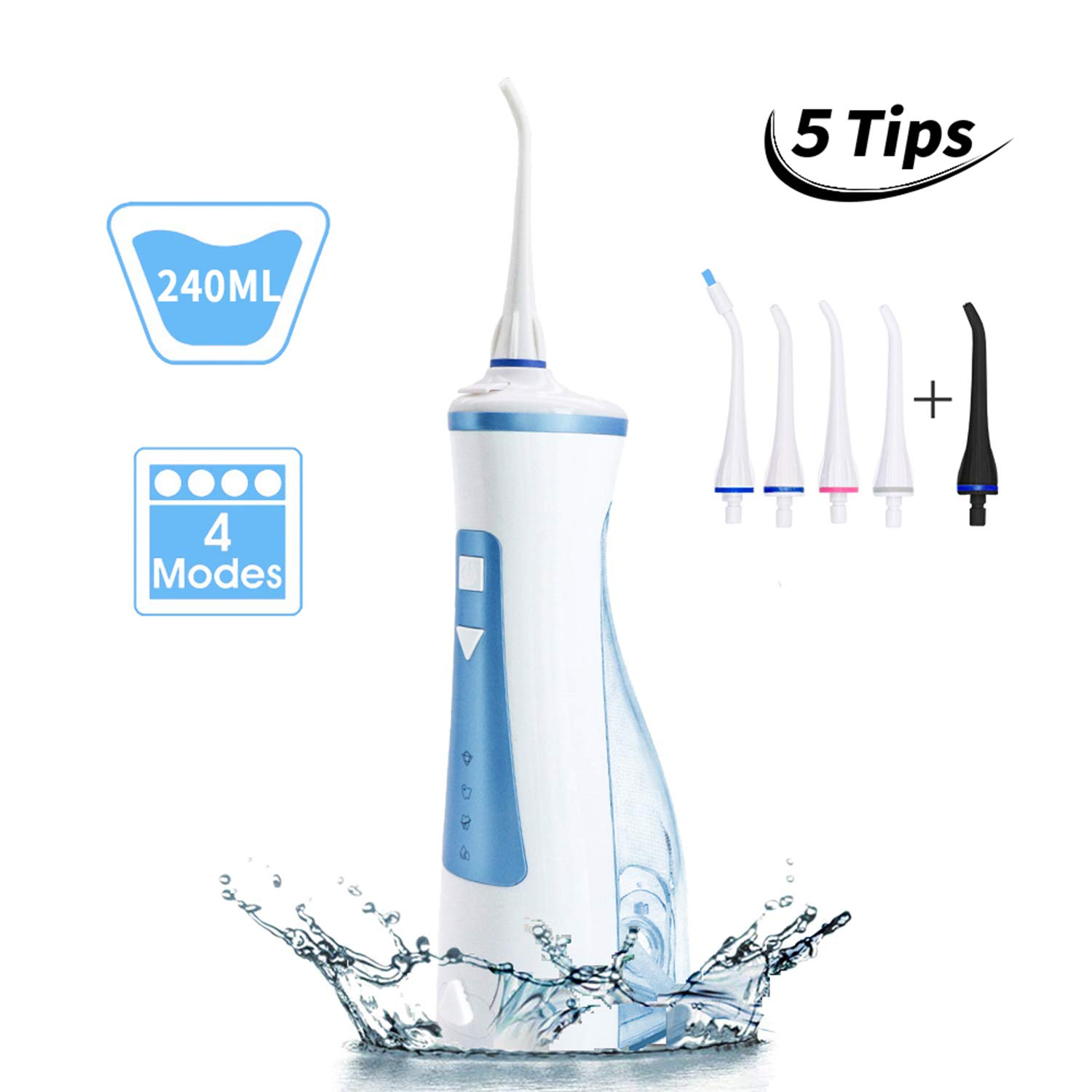 Water Flosser Cordless Oral Irrigator – NTONPOWER 240ML Professional Portable Teeth Cleaner, USB Rechargeable, 4 Modes 5 Tips, IPX7 Waterproof, High-frequency Pulsation for Braces Bridges Care