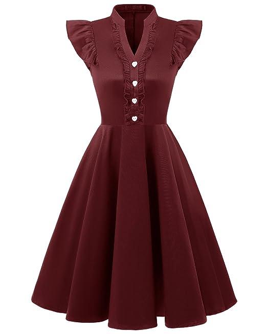 Bridesmay Mujer Corto Vestido Vintage De Estilo 1950 Retro para Fiesta Burgundy S
