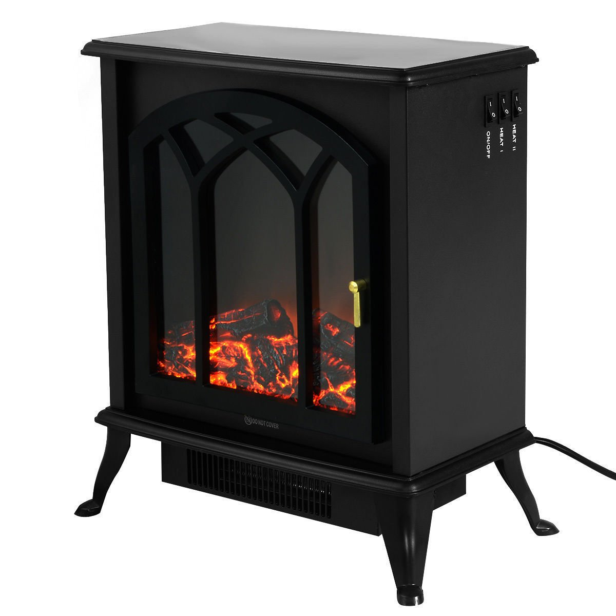 Free Standing Electric 1500W Fireplace Heater Fire Flame Stove Wood Adjustable + FREE E-Book