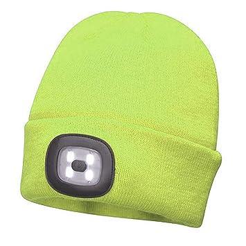 Unisex Mens 5-LED Light Winter Warm Cap Hip-Hop Beanie Fishing Running Ski Hat