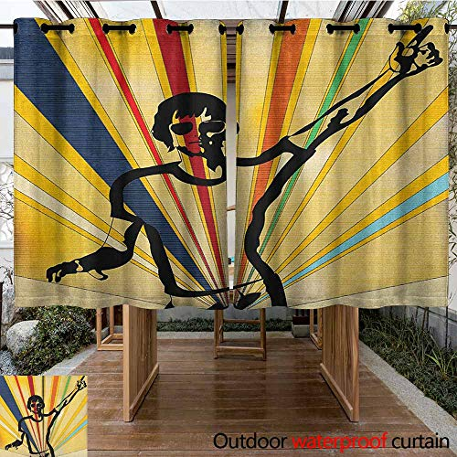 Indoor/Outdoor Curtains,Indie,Retro Style DJ Man on Radial Background Entertainment Nightclub Disco Party Music,Simple Stylish,K140C183 Multicolor