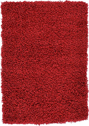 "Unique Loom Solid Shag Collection Cherry Red 2 x 3 Area Rug (2' 2"" x 3')"