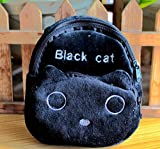 Animal Double Wallet Anime Child Coin Purse Hook Carabiner Strap Satchel (Black Cat)