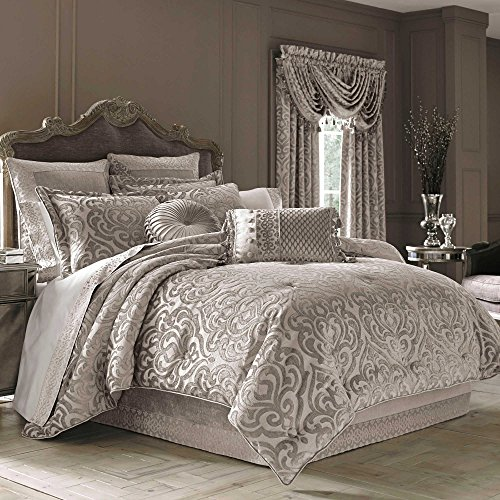 J. Queen New York Sicily Pearl Queen 4 Piece Comforter Set - Chenille Damask