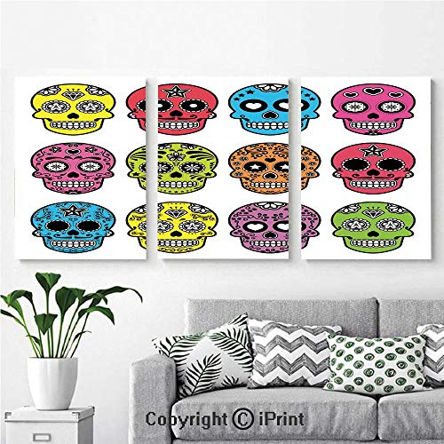 Wall Art Decor 3 Pcs High Definition Printing Ornate Colorful Traditional Mexian Halloween Skull Icons Dead Humor Folk Art Print Painting Home Decoration Living Room Bedroom Background,16