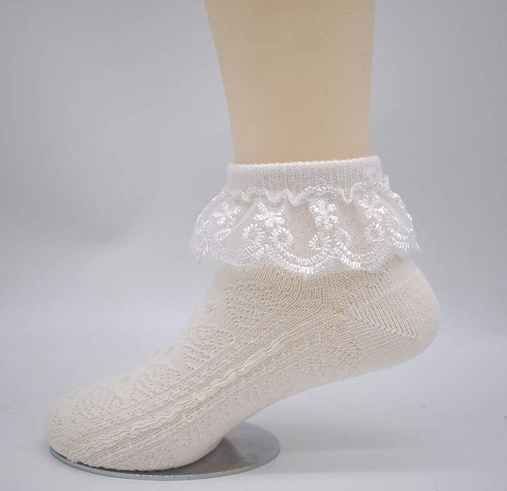 CeeDeek Combed Cotton Lace Socks for Girls Ruffle Socks 5 Pack Anklet Socks