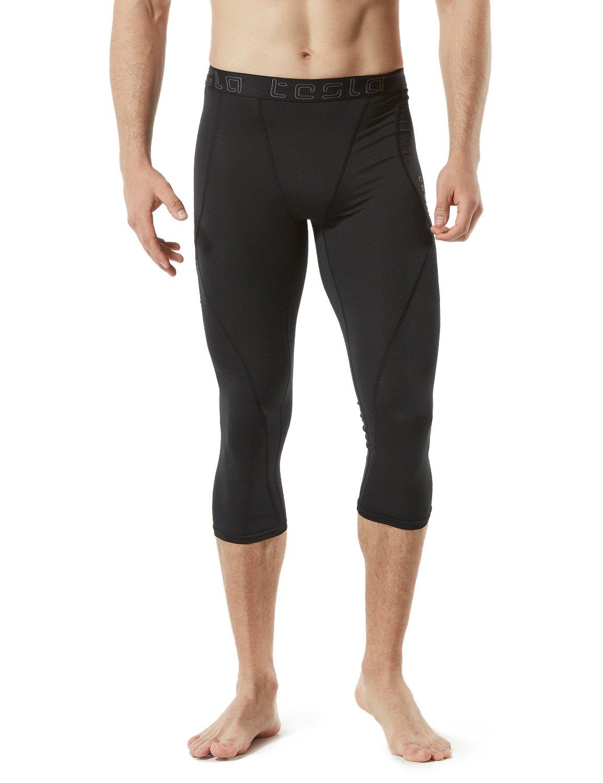 TM-MUC18-KLB_X-Small Tesla Men's Compression Capri Shorts Baselayer Cool Dry Sports Tights MUC18 by TSLA (Image #4)