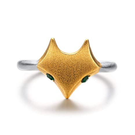 dcce53743 Amazon.com: HSUMING Cute Fox Ring 925 Sterling Silver Green Crystal Simple  Trend Abstract Animal Open Ring for Women Girls: Sports & Outdoors