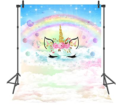 Sensfun 5x7ft Floral Rainbow Unicorn Party Backdrop Blue Sky Cloud Baby  Birthday Photo Background for Pictures Vinyl Dessert Table Decor Backdrops