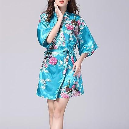 HEXUQIANG HXQ Kimono Batas Raso del Pavo Real y Flores de Seda Ropa de Dormir Estilo