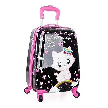 Maleta THBEIBEI 18 Pulgadas de Equipaje Equipaje Trolley Rueda Universal Impermeable de Alta Capacidad para niñas (Color : Black+Pink, Tamaño : 30 * 20 ...