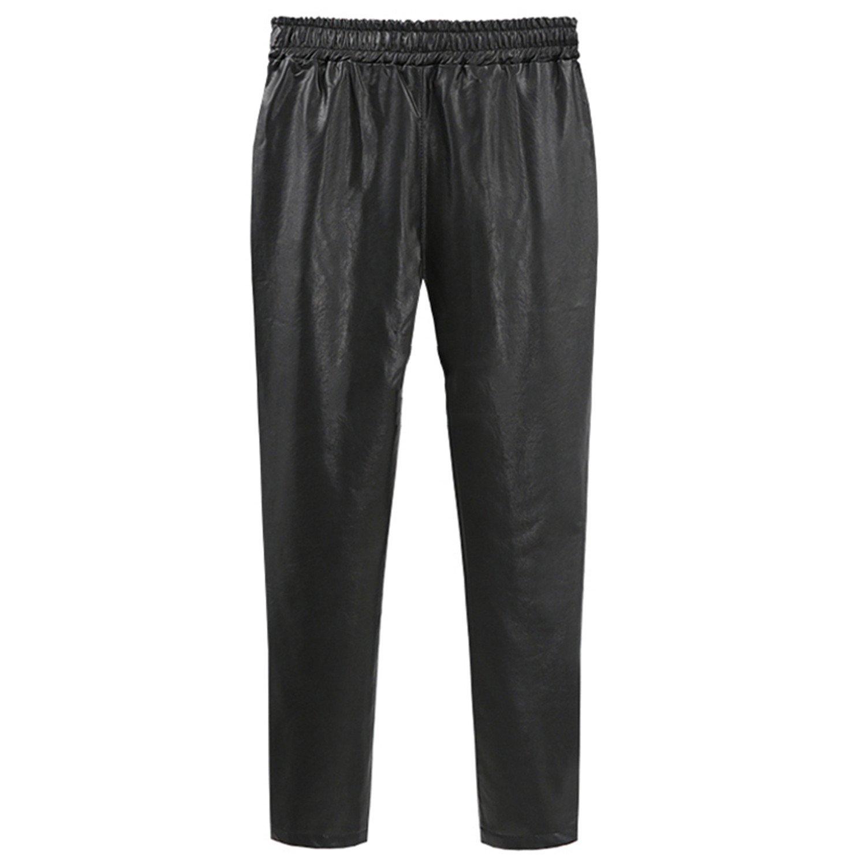 1ce8ee18e52 Dormery New Autumn Winter PU Faux Leather Trouser Women Harem Pant Casual Leather  Trousers Loose Elastic Waist Capris Plus Size 4XL 5XL Black 5XL at Amazon  ...