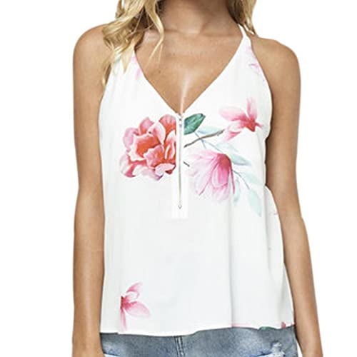 Vovotrade Mujeres Verano sin mangas cuello en V Lotus Floral Printed Cami T-Shirt Blusa