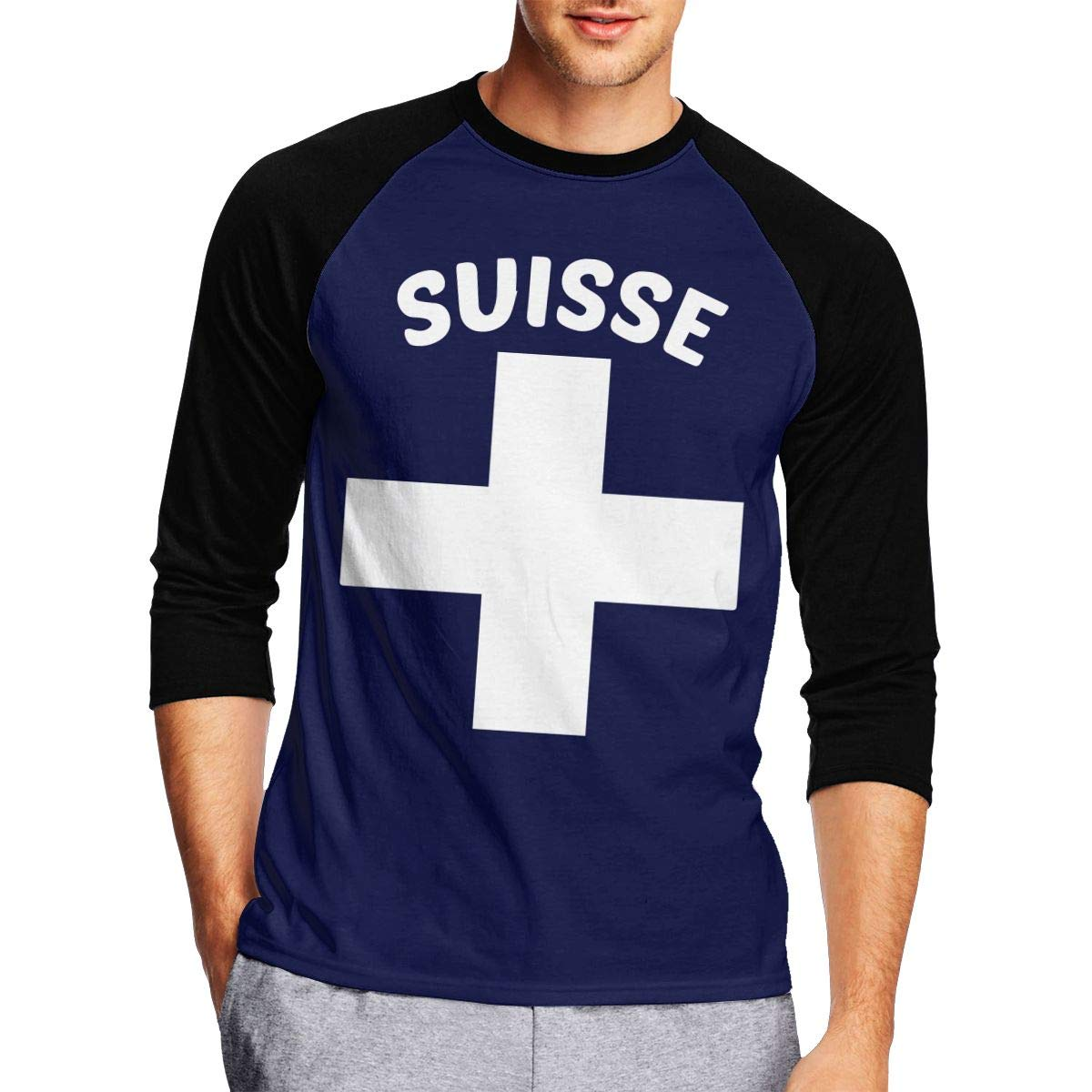 DFGHJZH-L Swiss Pride Mens Fashion Adult Long-Sleeved T Shirt