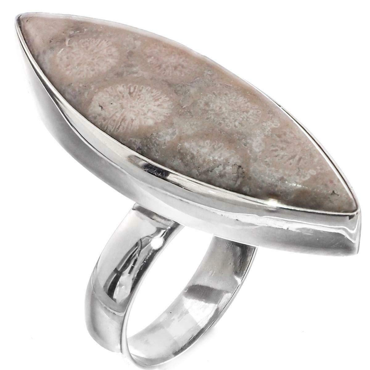 1 5//16 Cool Fossil Coral 925 Sterling Silver SZ 7 Ring YE-3195