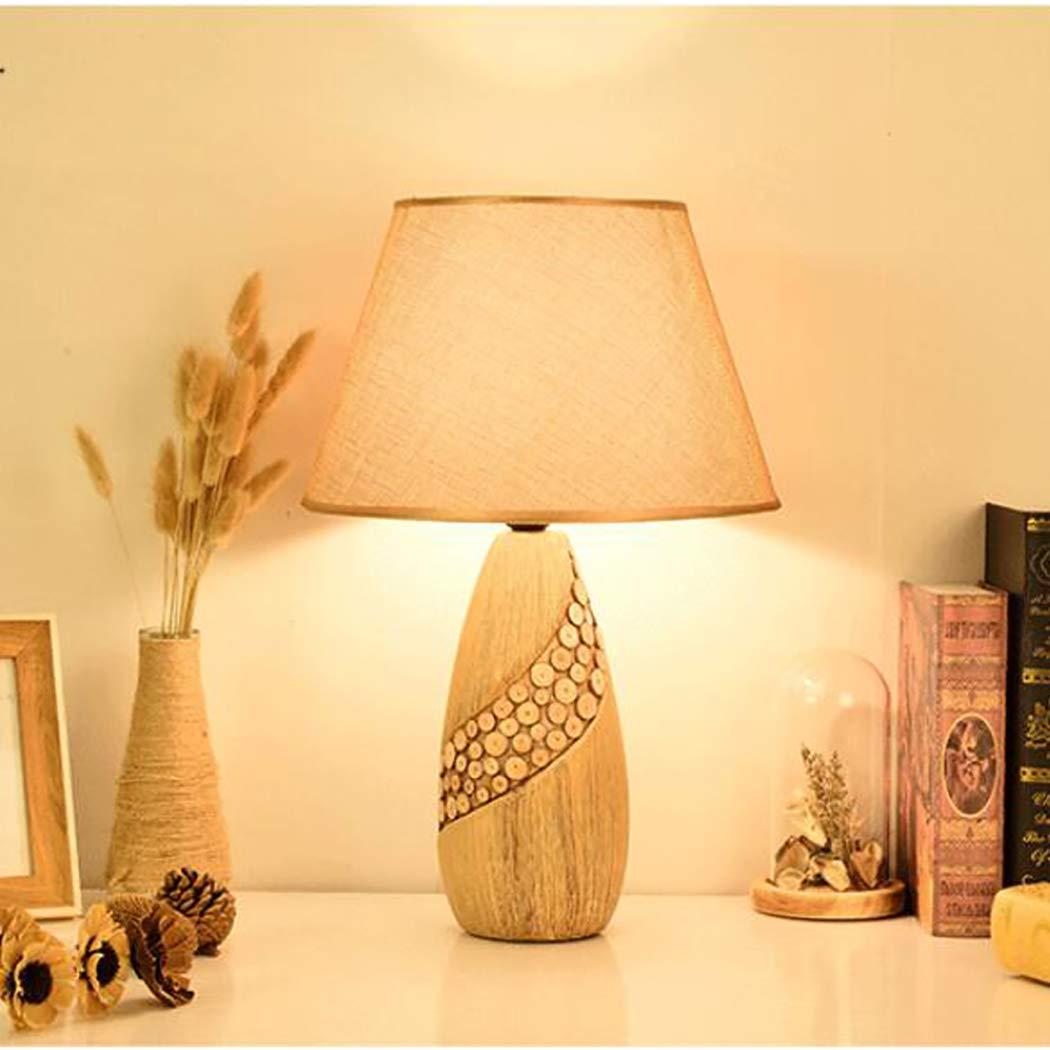 北欧モダンセラミックテーブルランプ、ヴィンテージ陶器模造ウッドライトボディ黄麻布ランプシェードE27寝室用リビングルーム12