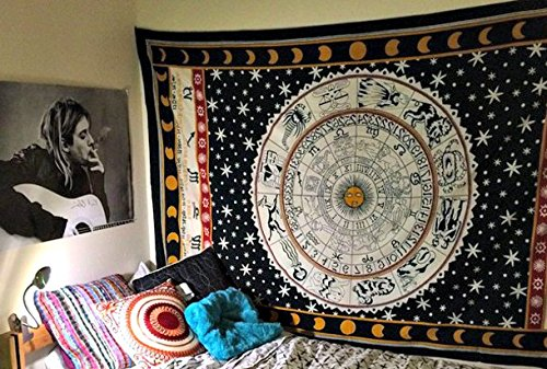 Jaipur Handloom Black and White Zodiac Tapestry Wall Hanging Horoscope Tapestry Dorm Room Tapestries Hippie Tapestry Indian Astrology Trippy Celtic Psychedelic Tapestry Wall Hanging