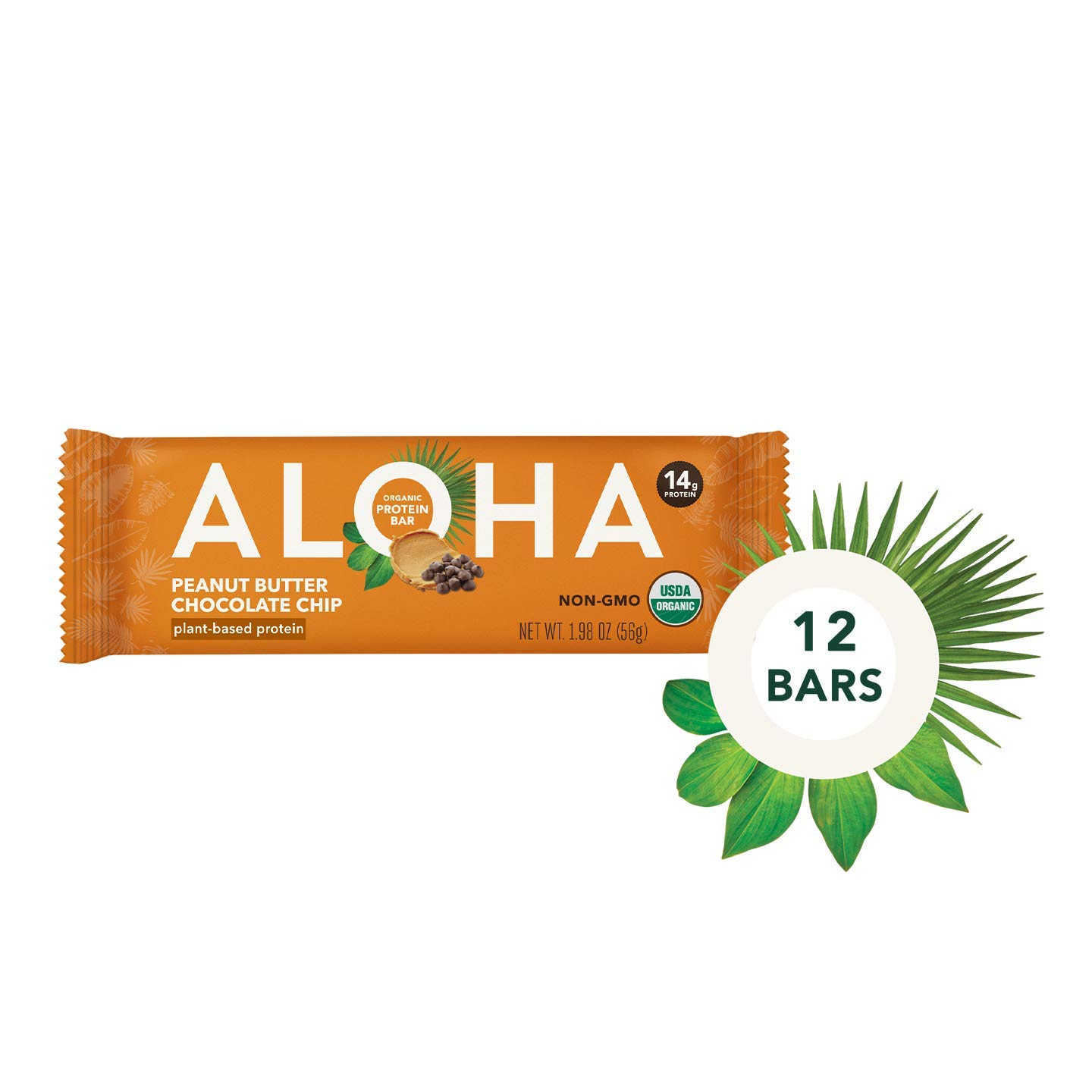 ALOHA Organic Plant Based Protein Bars |Peanut Butter Chocolate Chip | 12 Count, 1.9oz Bars | Vegan, Low Sugar, Gluten Free, Paleo, Low Carb, Non-GMO, Stevia Free, Soy Free by ALOHA