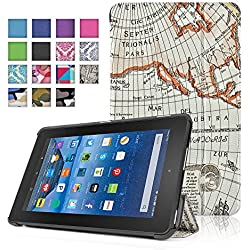 TNP New Fire 7 Case (Map Beige) - Ultra Slim Lightweight Folding Folio Cover Stand with Hard Rubberized Back for Amazon New Fire 7 Inch (5th Generation) 2015 Release Tablet