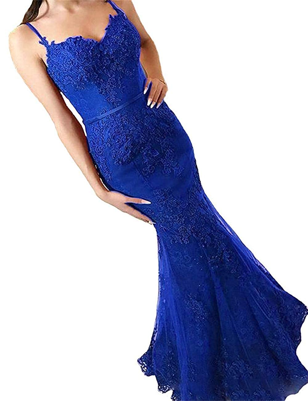 Royal bluee Sophie Women's Mermaid Full Lace Prom Dresses Spaghetti Straps Long Formal Evening Dress S164