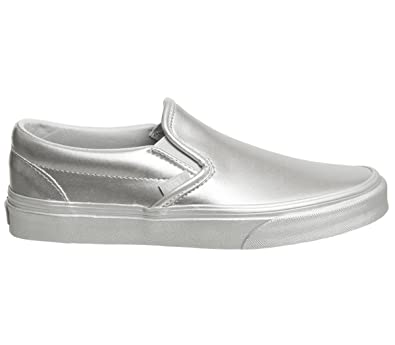a5024f3d5d3cc Vans Unisex Metallic Sidewall Slip-On Silver VN0A38F7QTV Skate Shoes