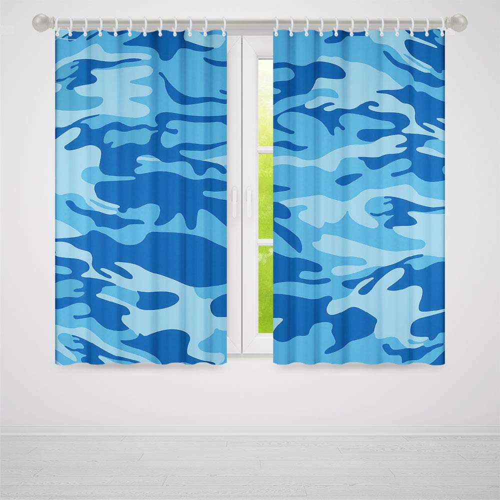 TecBillion Door Curtain,Camouflage for Living Room,Abstract Camo Navy Military Costume Concealment from The Enemy Hiding,103Wx72L Inches