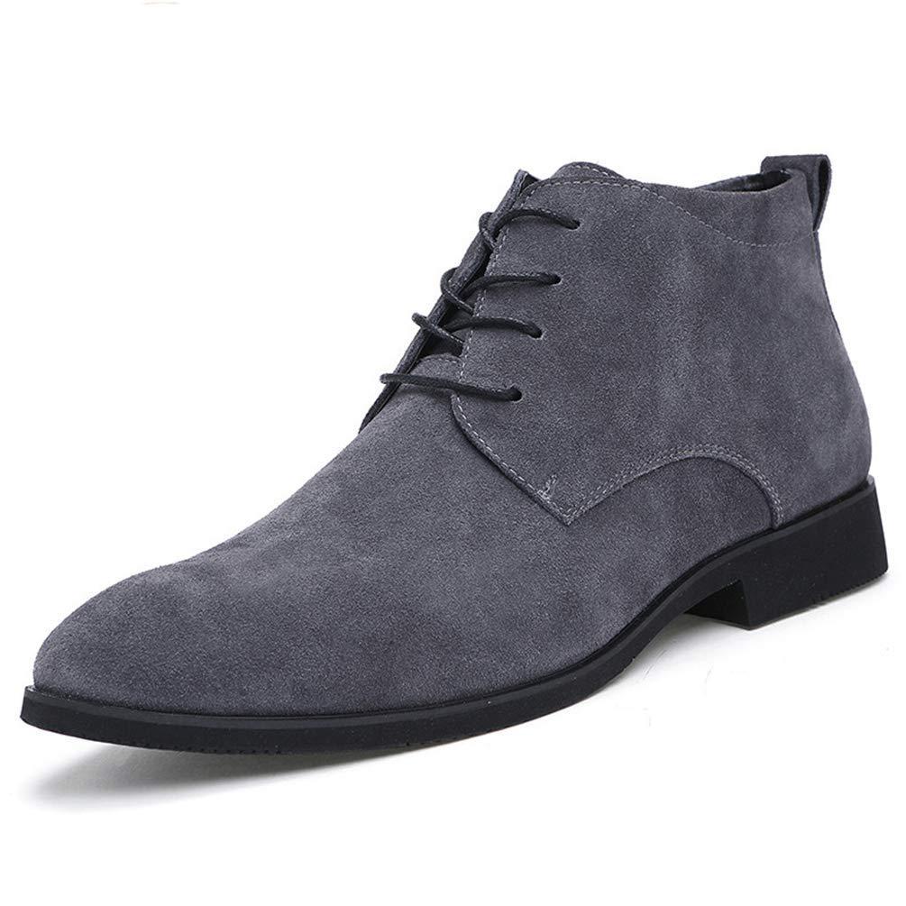 ZHRUI Männer Handgefertigte Qualität Mode Wildleder Stiefeletten Männer Winter Schnee Warme Formelle Schnürung Männer Schuhe (Farbe   Grau, Größe   741 EU)  | Schönes Design