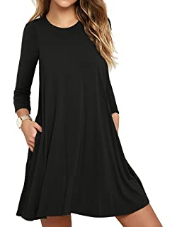 5686640480b Unbranded  Women s Long Sleeve Pocket Casual Loose T-Shirt Dress at ...