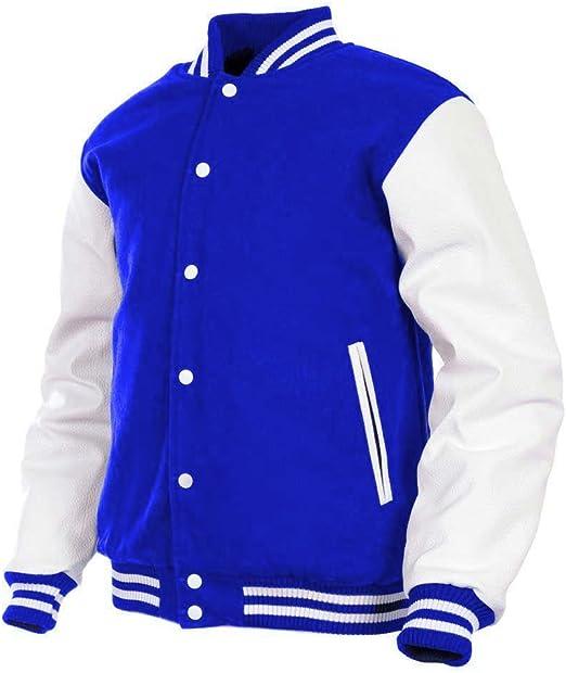GENZ Mens Women Varsity Jacket Faux Leather Sleeve and Wool Blend Letterman College Varsity Jackets