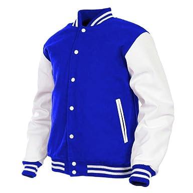 GENZ Mens Women Varsity Jacket Faux Leather Sleeve Wool Blend Letterman  College Varsity Jackets