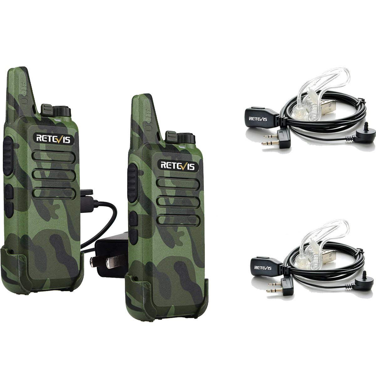 Retevis RT22 Walkie Talkies Camouflage UHF16CH Vox Scan Outdoor 2 Way Radios a (2 Pack) and Covert Air Acoustic Earpiece (2 Pack)