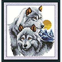 YEESAM ART New Cross Stitch Kits Advanced Patterns for Beginners Kids Adults - Wolf Partners 11 CT Stamped 41x43 cm - DIY Needlework Wedding Christmas Gifts