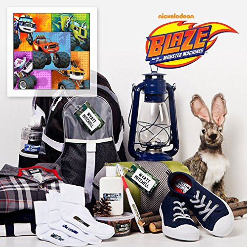 Blaze and The Monster Machines Personalized Camp Package Includes Stick-on, Iron-ons & Bag Tags for Kids Waterproof & Laundry Safe