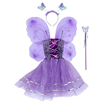 7518cf2dcd Amazon.com  Amosfun Kids Butterfly Wing Flower Angel Wand Skirt Fairy  Cosplay Chritsmas Fancy Performance Costume Carnival Costumes Carnival  Props  Toys   ...