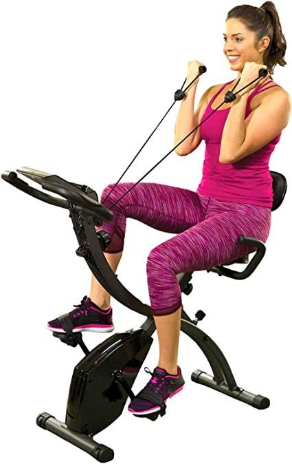 Bicicleta estática plegable, de interior, con bandas de resistencia para brazo y monitor cardíaco, perfecta máquina de ejercicio para el hogar: Amazon.es: Deportes y aire libre