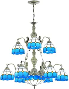 Multi-Head Pastoral Blue Mediterranean Chandelier Tiffany Style Retro Stained Glass Hanging Pendant Lamp for Living Room Bedroom Dining Room Lighting Fixture Decoration, 110-240V