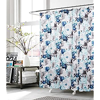 blue and gray shower curtain. Kensie Halle Blue Gray Floral Watercolor Modern Art Fabric Shower Curtain Amazon com  InterDesign Forest 72 x