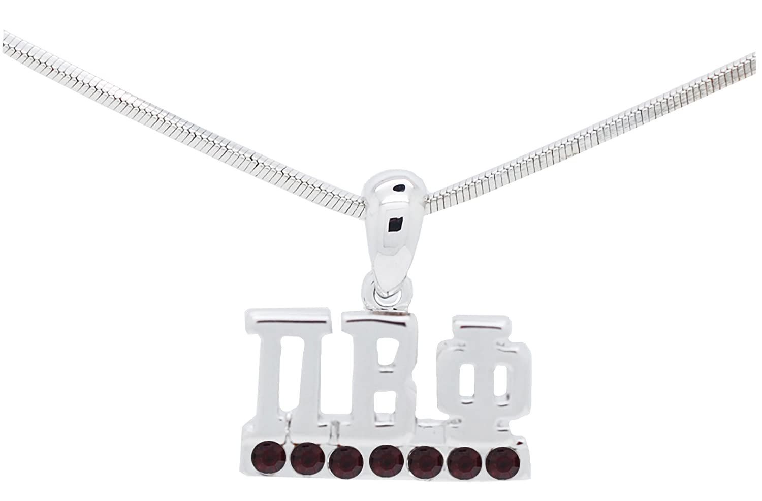 Pi Beta Phi Sorority Wine Colored Crystal Rhodium Plated Necklace Jewelry Lil Big Gift