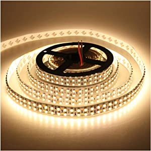 LEDENET Warm White 5M Double Row 3528 SMD 1200LEDs Flexible Strip Tape Light 240LEDs/M Ribbon Lamp DC 12V 16.4Ft (Warm White Strip)